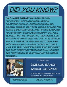 Did you know Cold Laser Therapy can be used for post operative procedures?