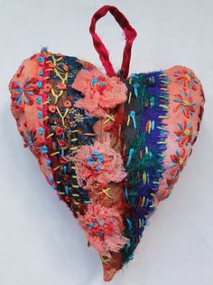 Textile Heart by Thecraftmagpie on Etsy, $12.50 SOLD