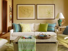 Inspiration for adding touches of blues and greens to my otherwise brown/tan livingroom.