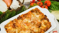 Holiday Lasagna with red and green sauce