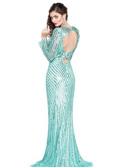Primavera 9715 - Sequin Aqua Long Sleeve Prom Dress with open back, deep v neck, and a sexy hi slit