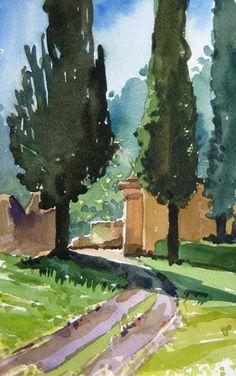 Villa Entrance watercolor painting by Jill Stefani Wagner