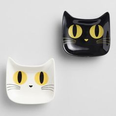 Black or White Ceramic Cat Tea Rests Ceramic Bowls, Ceramic Pottery, Clay Cats, Pottery Animals, Cat Cafe, Fused Glass Art, Air Dry Clay, Diy Clay, Cat Drawing