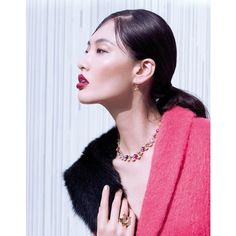 Bonnie Chen Dons Coats for Stockton Johnson in Grazia ❤ liked on Polyvore featuring faces