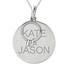 Diamond Accent Ring Charm with Engraved Disc Pendant in 10K White or Yellow Gold (2 Names) - View All Personalized Jewelry - Zales