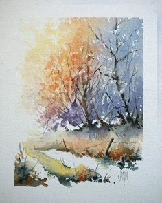 Step-by-step demo Snowy woods painting. Watercolor Pictures, Watercolor Trees, Watercolor Landscape, Watercolor And Ink, Landscape Paintings, Watercolor Paintings, Watercolors, Landscapes, Seascape Paintings
