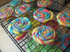 Really cute rainbow cookies. Need to find this recipe! Would be really fun for a child's birthday party.