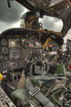 "This was labeled by the original poster as ""cockpit of the iconic Huey helicopter"", which it certainly is not. It is a great photo of an OV-1 Mohawk cockpit, however."