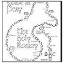 """Our Lady of the Rosary: Oct. 15 Coloring page doubles as a """"how to"""" for kids rosary"""