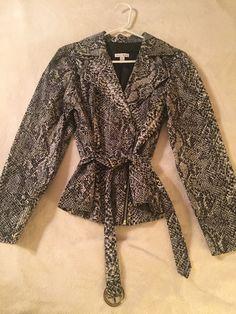 Women's Size 16 Snake Reptile Print Shirt Jacket Long Sleeve With Belt #FashionBug #Wrap #Career