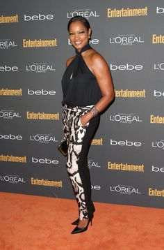 Chic Crystal Reed printed black white pants Garcelle-Beauvais-An Melanie Griffith, Crystal Reed, Zendaya Coleman, Olivia Wilde, Street Look, Heidi Klum, Emporio Armani, Cory Kennedy, Camouflage