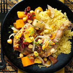Moroccan Vegetable Chicken Tagine Recipe -Take a trip to Morocco with this exotic and rich dish. A tagine is a North African slow-cooked stew that is named after the pot in which it is cooked.—Taste of Home Test Kitchen, Milwaukee, Wisconsin Best Slow Cooker, Slow Cooker Recipes, Cooking Recipes, Crockpot Recipes, Slow Cooking, Taste Of Home, Moroccan Vegetables, Tagine Recipes, Chicken And Vegetables