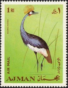 Stamp: Grey Crowned Crane (Balearica pavonina) (Ajman) (Birds) Mi:AJ 399A,Yt:AJ PA54-F
