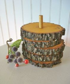 Cabin Lodge Rustic Wood Coaster Set Oak with Holder by SnapVintage for $22.00