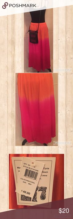 BOHO Maxi Skirt in Bright Orange and Pink 💞 Beautiful Boho / Peasant Skirt with in Bright Orange and Pink ☀️🌅 Matches perfectly with a fitted camisole and your cutest pair of sandles.  Perfect for a walk on the beach during this beautiful summer ⛱ Bay Studio Skirts Maxi