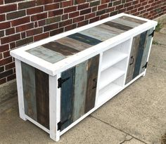 Industrial Modern Reclaimed Wood Entertainment Center by Jeremy Paradis Wood Projects, Furniture Diy, Furniture Projects, Pallet Furniture Entertainment Center, Wood Entertainment Center, Refinishing Furniture, Wood Furniture, Rustic Industrial, Pallet Entertainment Centers
