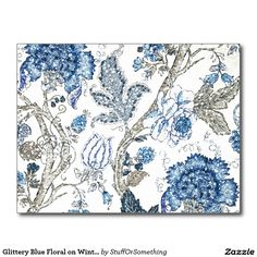 Glittery Blue Floral on Winter White Postcard