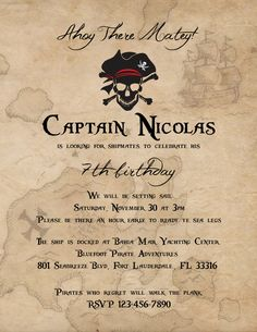 Pirate Invitation - Digital File by EnchantedWishes13 on Etsy https://www.etsy.com/listing/170620426/pirate-invitation-digital-file