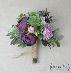 Succulent bouquet diy color palettes 25 ideas for 2019 Neutral Wedding Flowers, Purple Wedding Bouquets, Flower Bouquet Wedding, Bridal Bouquets, Prom Flowers, Silk Flowers, Succulent Bouquet, Diy Bouquet, Boquet