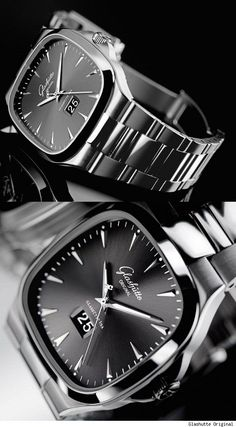 Glashutte Original Seventies Panorama Date Watch in stainless steel.