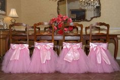 Handcrafted chair tutus for your princess's birthday party table, perfect for holiday parties and special dinners