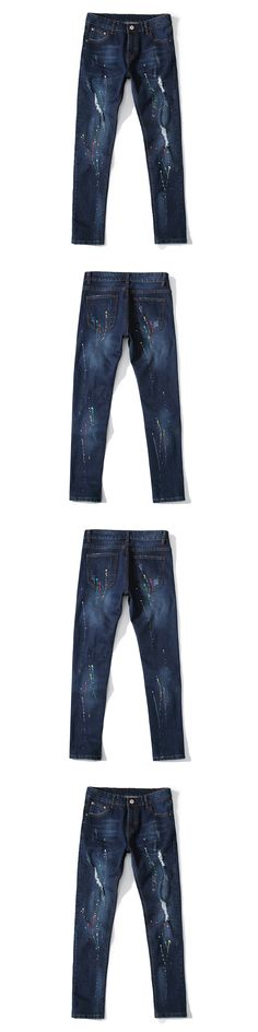 2017 Summer Men Jeans Ripped Silm Hole Denim Straight Strech Rock Jeans Fear of God Trousers Pant Boost Painted Pencil Pants