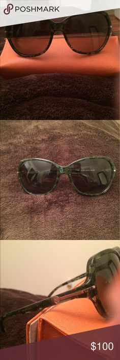 Brand new Tory Burch sunglasses Brand new never worn ! Tortoise color ( green, brown and flecks of gold) with gold hardware. Polarized and very comfortable fit.  Comes with original bright orange sunglass case. Tory Burch Accessories Sunglasses