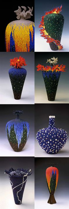 """Amazing Bead Artwork """"Beaded Vessel"""" by Linda Fifield Bead Embroidery Jewelry, Beaded Embroidery, Beaded Jewelry, Seed Bead Art, Seed Beads, Bead Crafts, Diy And Crafts, Mosaic Pots, Beaded Boxes"""