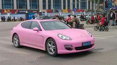 Pink Porsche Panamera in China
