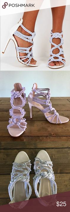"""⚓️ NWOB Pink Boutique 'Lamira' Rope Heels ⚓️ ⚓️ Brand new without box!! ⚓️ Pink Boutique 'Lamira' Rope Sandals/Heels ⚓️ UK size 7/ EQUIVALENT TO A US SIZE 9!! (Refer to size chart, pic 8!) True to size!! ⚓️ 4.5"""" heel ⚓️ Back zipper ⚓️ Pure white sandal with light dove gray rope... can also look light sky blue!! Very pretty!! ⚓️ Sadly these aren't my size so they need a good home! ⚓️ Flawless!! Only tried on, on carpeted floor!! ⚓️ From a smoke free home ⚓️ 🚫PP Pink Boutique Shoes Heels"""