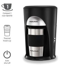 Morphy Richards Coffee On The Go Filter Coffee Machine 162740 Black and Brushed Stainless Steel Coffee Maker. Save yourself a trip to the coffee bar on your way to work by using your favourite coffee grounds for coffee just the way you like it. Stainless Steel Coffee Maker, Stainless Steel Travel Mug, Filter Coffee Machine, Drip Coffee Maker, Coffee To Go, Great Coffee, Small Kitchen Pictures, Retro Kitchen Appliances, Thermal Travel Mug