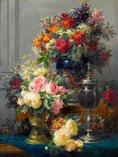 Jean-Baptiste Robie, Still Life_spring-flowers-with-chalices Art Floral, Still Life Flowers, Jean Baptiste, Tile Murals, Still Life Art, Art Moderne, Ceramic Flowers, Beautiful Paintings, Spring Flowers