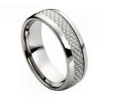 Tungsten Carbide Grey Carbon Fiber Checker Inlay Band
