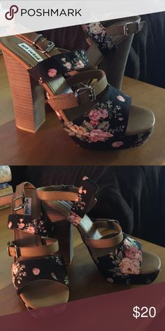 "Not Rated brand ""Lovely Day"" black floral heels Brand new never worn still in box size 10 black floral heels Not Rated Shoes Heels"