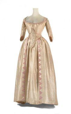 Wedding dress and petticoat, silk, linen, cotton, wool and baleen, 1791, English