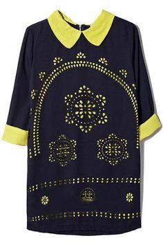 Cut-out Crochet Yellow Dress #Romwe
