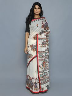 Off White Red Hand Painted Madhubani Cotton Saree Cotton Saree Designs, Blouse Designs, Latest African Fashion Dresses, Indian Fashion, Indian Designer Outfits, Indian Outfits, Kerala Traditional Saree, Saree Painting Designs, Business Casual Outfits For Work