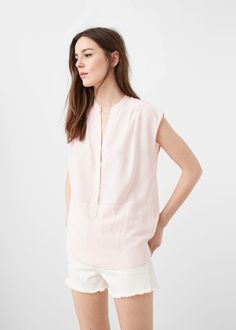 d8bc8858c00 Blusa rayas - Mujer. Linen mix Striped design Rounded neck ...