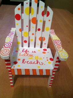 Charmant Painted Red And White Adirondack Chair | Funky Patio Ideas | Pinterest |  White Adirondack Chairs, Coastal Furniture And Painting Furniture