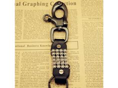 Studded Leather Key Chain Ring