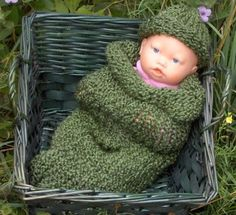 Bearcat Green Loom Knitted Baby Snuggie Set | SherryCreates - Knitting on ArtFire