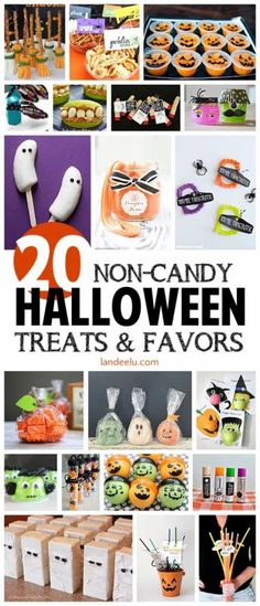 Awesome ideas for Halloween treats and favors with no candy! Today I've rounded up some of my favorite NON CANDY Halloween treats and party favors just in case you are looking to cut down on the candy consumption as well this year! Spooky Halloween, Halloween Class Party, Halloween School Treats, Halloween Party Favors, Halloween Goodies, Halloween Birthday, Halloween Activities, Halloween Gifts, Holidays Halloween