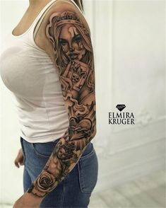 50 Awesome Sleeve Tattoos For Women Which You Will In Love With – Page 13 of 50 - tatoo feminina Skull Sleeve Tattoos, Girls With Sleeve Tattoos, Best Sleeve Tattoos, Arm Tattoos For Women, Tattoo Sleeve Designs, Girl Tattoos, Tattoos For Guys, Tatto Sleeve, Full Arm Tattoos