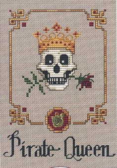 Pirate Queen Post Stitches cross stitch chart with charm Sue Hillis Designs $5.40  #pirate