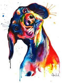 Colorful Dachshund/Wienerdog Watercolor Print - Art Print of my Original Painting Arte Dachshund, Watercolor Print, Watercolor Paintings, Original Paintings, Ink Painting, Painting Prints, Arte Pop, Animal Paintings, Bright Paintings