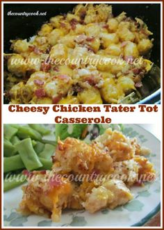Cheesy Chicken Tater Tot Casserole Will definitely be trying this as soon as I get my slow cooker back!