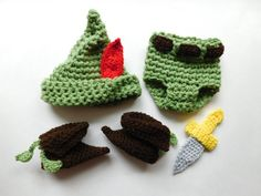 Peter Pan Hat Pants Boots and Dagger Crochet by BabiesBugsAndBees