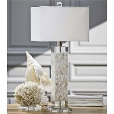Regina Andrew Lighting Diamond Mother of Pearl Square Column Table Lamp