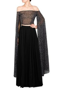 Cape Sleeve Crop Top with a Gathered Skirt    #carma #carmaonlineshop #style #fashion #designer #indianfashion #indiandesigner #ankitajuneja #gown #couture #shopnow #indianwear #pretty #girly #onlineshopping #instashop #black #cape #sleeve #croptop #gathered #skirt