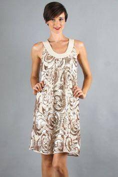 Voom by Joy Han Devin Shift Dress in Taupe